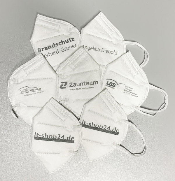 5 x Premium FFP2 NR Masken - individuell bedruckt - 100% Made in Germany
